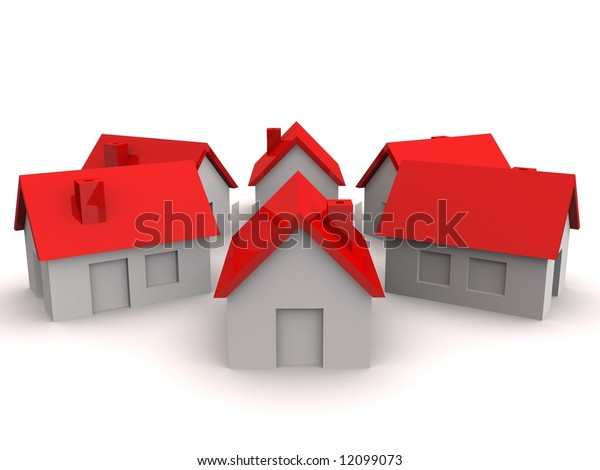little houses with red roof