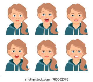 Little kid girl face expressions isolated on white background. Frowning and frightened, afraid and angry girls cartoon emotions. illustration