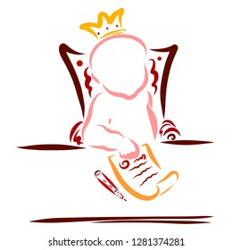 The little king has signed a treaty or decree
