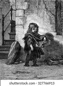 Little Match Girl in Amsterdam, vintage engraved illustration. Magasin Pittoresque 1867.