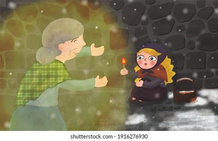 little match girl,fairy tale, a scene in a fairy tale, fairy tale illustration,storybook