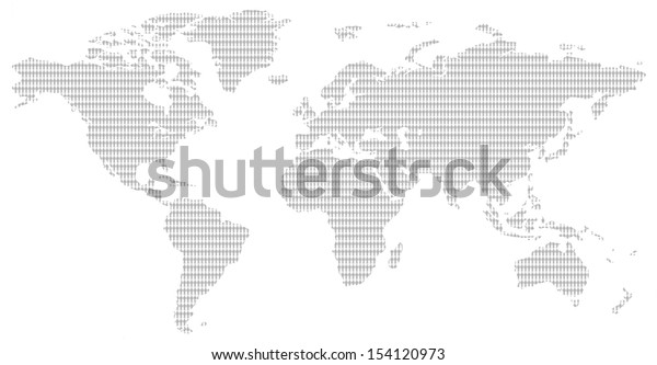 little men pattern contemporary grey world map showing the population of our planet