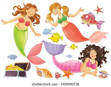 The little mermaid. Fairy tale. Three mermaid sisters. Coloring page. Illustration for children. Cute and funny cartoon characters isolated on white background