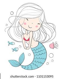 Little mermaid. Marine theme.