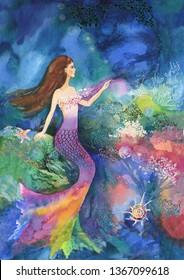 The little mermaid sits in the fantastic underwater world of jellyfish, shells and corals. Wallpaper for children, home decor, books, postcards, marine illustrations, ladies' club, swimming pool, spa.