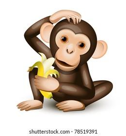 Little monkey holding a banana isolated on white