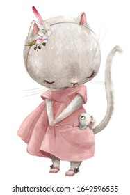 little mouse and cute kitten girl with pink dress