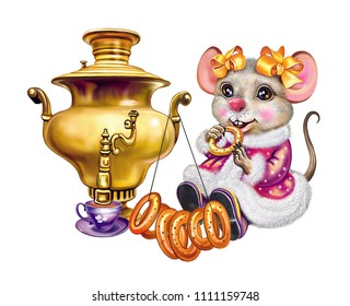 a little mouse drinks tea with a biscuit in a cozy mink, a funny mouse with a samovar, a smiling cartoon animal, an isolated character on a white background