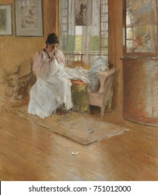 FOR THE LITTLE ONE, by William Merritt Chase, 1896, American painting, oil on canvas. The artists wife sewing for their children in the Chase family home. Chases impressionist palette captures the lig