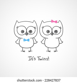 little owls twins, baby shower invitation template