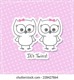 vector little owls twins baby shower invitation template ez canvas