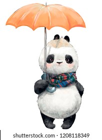 Little Panda with umbrella