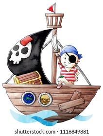 Little pirate boy with his ship