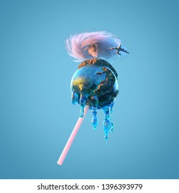 little planet melts like a lollipop, 3d illustration