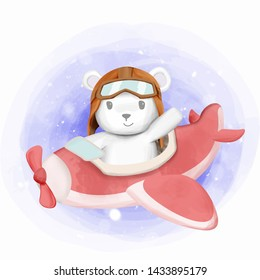 Little Polar Bear Riding Air Plane Toy