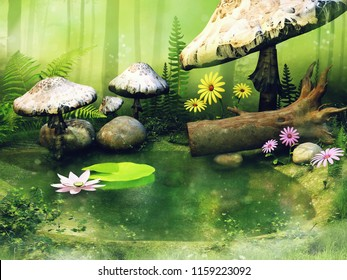 Little pond in the forest with big fairy mushrooms, flowers and fern leaves. 3D illustration.