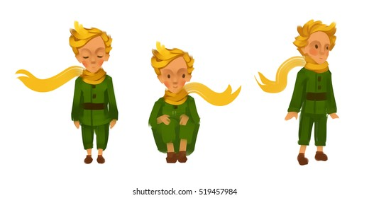 The Little Prince. Character concept. Three poses isolated on a white background. Raster illustration. Hand-drawn art.