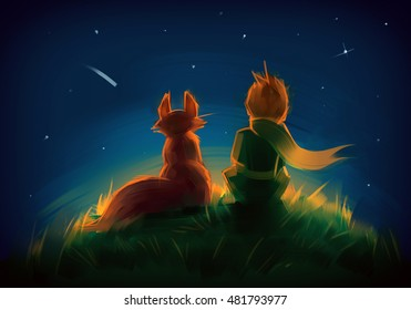 Little prince and the fox sitting on the grass under starry sky. Raster colorful illustration.