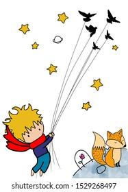 Little prince. Lovely friends. Fox. Stars.