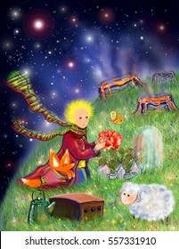 The Little Prince on a green planet with flower, lamb and fox