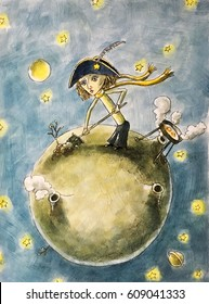 Little prince on the planet, illustration, children's fairy tale, watercolor