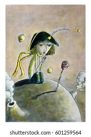Little prince and rose alone on the planet, children's illustration, watercolor