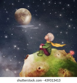 The Little Prince with a rose on a planet  in beautiful night sky ,illustration art