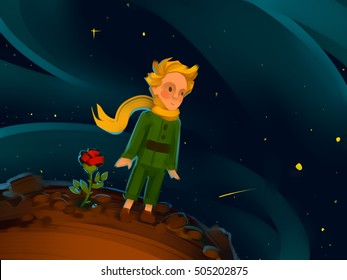 The Little Prince and the Rose on a planet in beautiful night sky. Raster illustration. Hand-drawn art.
