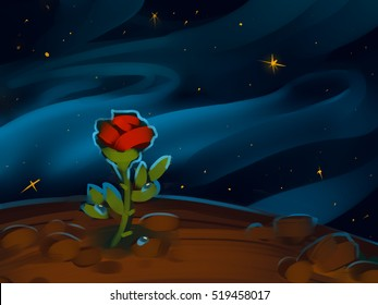 The Little Prince. The Rose on a planet in beautiful night sky. Raster illustration. Hand-drawn art.