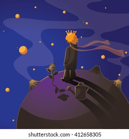Little prince with a rose standing on an asteroid.  Le Petit prince illustration.