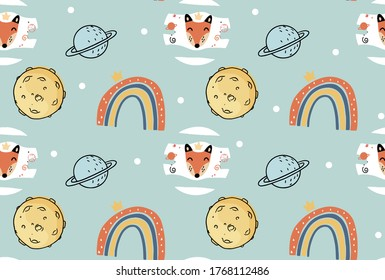The little prince story is seamless in the fox rainbow and planets pattern