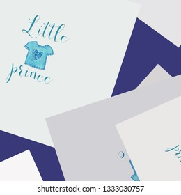 Little prince text with watercolor shirt blue color. For nursery print.