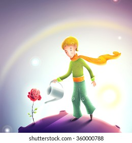 Little prince watering a rose. Le petit prince illustration. Cute little prince with orange scarf on a small asteroid planet. Beautiful universe and stars behind the little boy.