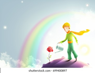 Little prince watering a rose. Le petit prince illustration. Cute little prince with orange scarf on a small asteroid planet. Beautiful universe and stars behind the little boy. Rainbow.