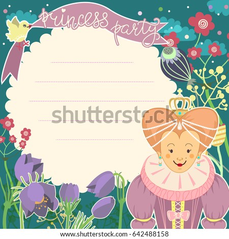 Little Princess Card With Blank Space For Text Birthday Party Invitation Hand Drawn