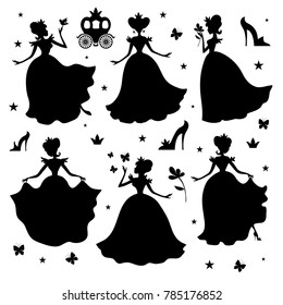 Little princess silhouettes. Girl princess black silhouette illustration isolated on white background