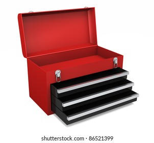 Little red portable toolbox with open drawers and top