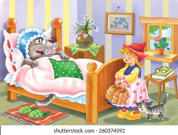 Little Red Riding Hood. A fairy tale. A pretty little girl and the wolf. Illustration for children