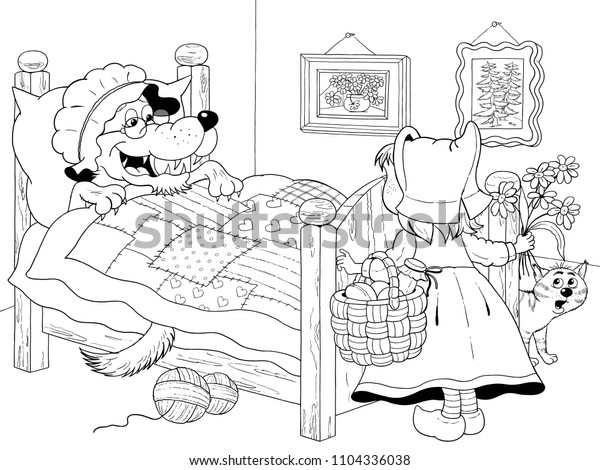 Little Red Riding Hood Fairy Tale Stock Illustration 1104336038