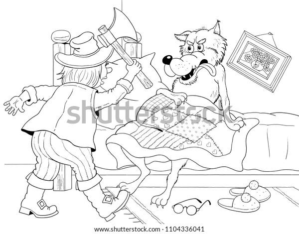 Little Red Riding Hood Fairy Tale Stock Illustration 1104336041