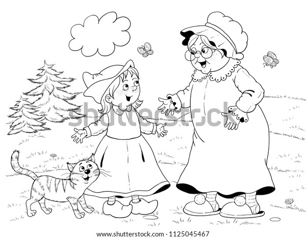 Black And White Little Red Riding Hood Banner And Characters