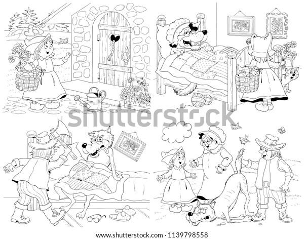 Little Red Riding Hood Fairy Tale Stock Illustration 1139798558