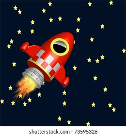 Little red rocket ship flying in the universe among the stars illustration