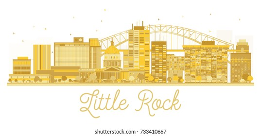 Little Rock City skyline golden silhouette. Simple flat concept for tourism presentation, banner, placard or web site. Business travel concept. Little Rock isolated on white.