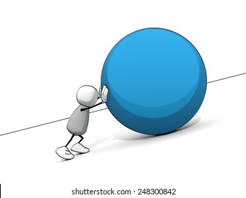 little sketchy man as sisyphus rolling a big blue ball up the hill