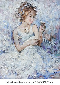 Little smiling cute girl with butterflies. Created in the expressive manner and light blue, gray and white colors. Palette knife technique of oil painting and brush.