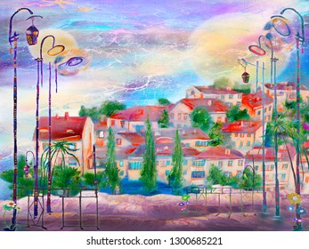 Little spanish town with old latterns in the street. Oil painting cityscape.