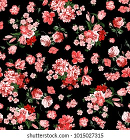 Little Tiny Small Red and Pink Rose Flowers on Floral Green Seamless Repeating  Background Artistic Wallpaper Pattern for Valentine's Day