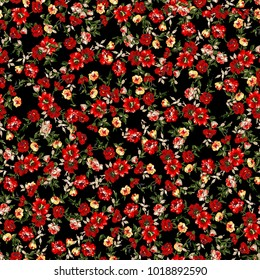 Little Tiny Small Red and Yellow Orange  Rose Flowers on Floral Black Seamless Repeating  Background Artistic Wallpaper Pattern for Valentine's Day