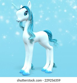 Little Unicorn - A baby unicorn with an ice blue horn with magical stars behind.